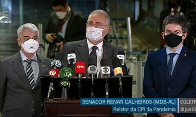 O senador Renan Calheiros (MDB-AL), relator da CPI da Pandemia, classificou oficialmente 14 pessoas comoinvestigadaspela comissão.